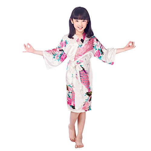 Asiatische Und Kostüm Textilien - Joyplay Morgenmantel Kinder Mädchen Kimono Robe Bademantel Nachtwäsche mit Peacock und Blüten entwerfen Robe M