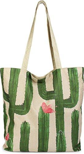styleBREAKER Shopper Einkaufstasche mit Kaktus und Blüten, Reißverschluss, Strandtasche, Stofftasche, Tasche, Damen 02012220, Farbe:Beige-Grün (Bast-shopper)