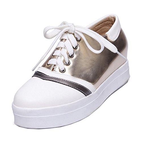 COOLCEPT Femmes Mode Lacets Court Chaussures Augmentation Escarpins Bout Ferme Chaussures Or