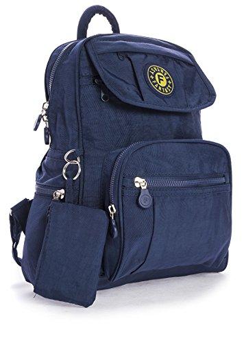 Big Handbag Shop Lightweight Fabric Mini Backpack Rucksack School Work Travel Gym College Bag (Blue)