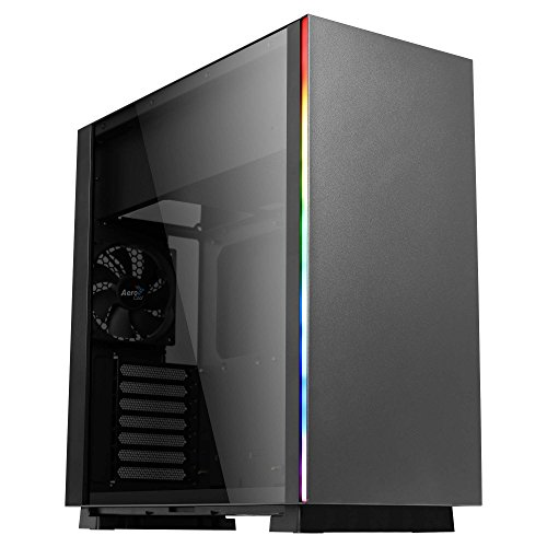 Aerocool Glo - Micro ATX PC Gehäuse (Gehärtetes Glas, Total Side Window, RGB 13 Modi, USB 3.0, 12cm Back Fan) Schwarze