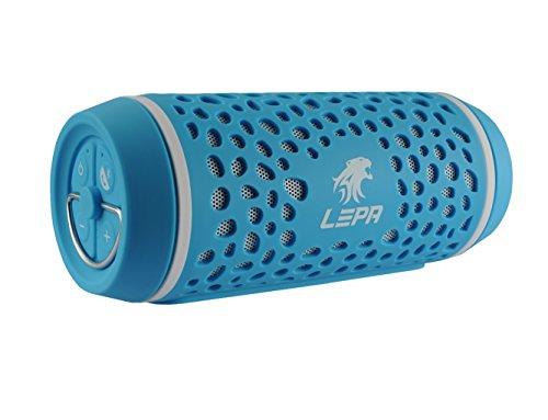 LEPA BTS02-BL Outdoor Bluetooth-Lautsprecher (360° Sound, Spritzwasserschutz, für Smartphones und Tablets) Blau
