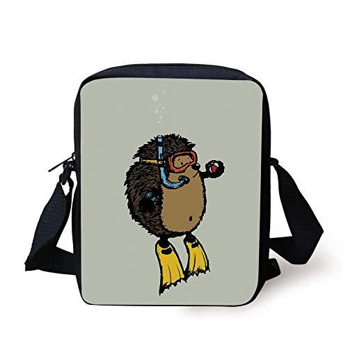 Animal,Cartoon Scuba Diver Hedgehog Cute Illustration for Kids Funny Sea Life,Baby Blue Yellow Brown Print Kids Crossbody Messenger Bag Purse