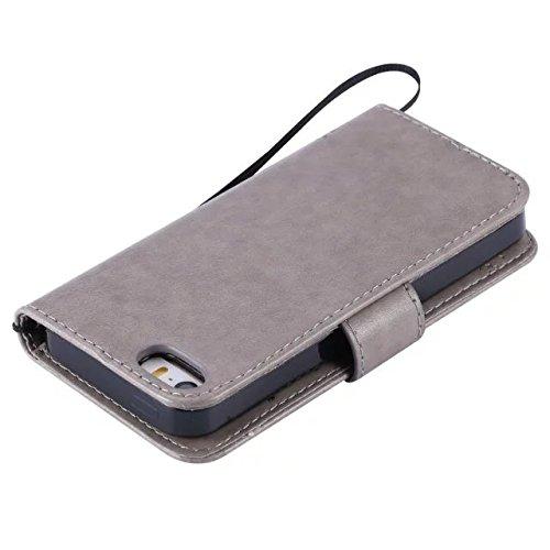 JIALUN-Telefon Fall Mit Kartensteckplatz, Lanyard, Druck Schöne Muster Mode Open Handy Shell Für IPhone 5 5S SE ( Color : Red ) Gray
