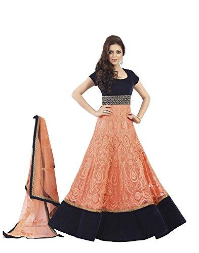Brides Galleria Women's Net Anarkali Suit (Bgsu-16877 _Peach _Free Size)