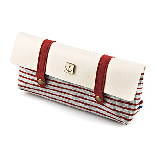 TININNA Armada vintage raya lienzo caja de lápiz de la pluma del bolso cosmético del bolso del maquillaje con cremallera para Chicas Chicos Shcool Rojo