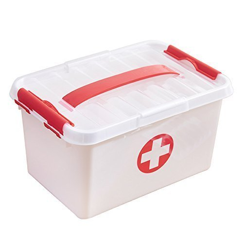 Toku Portable Medicine Box Family First Aid Kit Medicine Organiser Box Detachable Tray, 4 Compartments and Carrying Handle