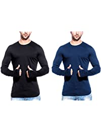 T Shirts For Man Black & Blue Full Sleeve Thumb-hole Round Neck Cotton Men T-Shirt - Pack Of 2