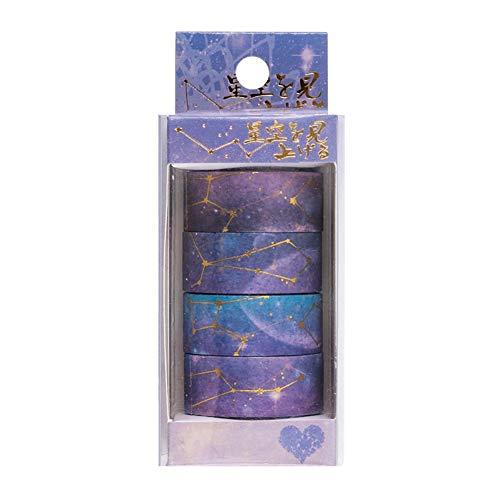 Fairylove 4 Stück Dichtungsbänder Folie Gold Papier Klebeband Heißprägen Paketbänder Bürobedarf Klebrig Klebemittel Dichtstoffe Verpackungs Band Schreibwaren Hängende Dekorationen Zubehör