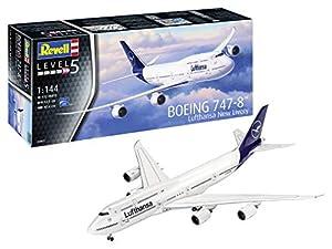 Revell-03891 Boeing 747-8 Lufthansa New Livery, Kit Modelo, Escala 1:144, Color Blanco, 52.5 cm (03891