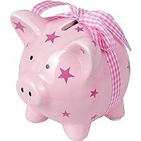 Maialino salvadanaio in ceramica rosa con tappo in plastica.