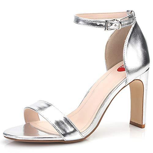 ZPFME Elegante Damen Damen Knöchelriemen Arbeit Abend Hochzeit Block Ferse Sandalen High Heel Open Toe Schuhe,Silver-EU37/235 -