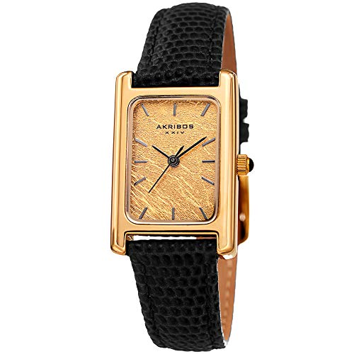Akribos XXIV Leather Women's Watch – Small Rectangular Case, Genuine Gold Leaf Dial, Lizard Black Skinny Strap, Three Hand Quartz Movement – AK1046BK -