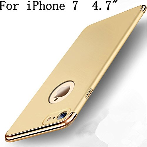 "iPhone 7 4.7"" Case,Heyqie 3 in 1 Ultra-thin 360 Full Body Anti-Scratch Shockproof Hard PC Non-Slip Skin Smooth Back Cover Case with Electroplate Bumper For Apple iPhone 7 4.7"" - Black Gold"
