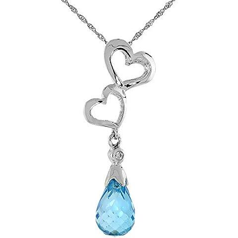 """Oro bianco 9 kt, a forma di doppio cuore con topazio blu, taglio & pendente con diamante taglio brillante, 1 3/16 in., 30 mm di altezza, w/45,72 cm (18"""") catenina da"""