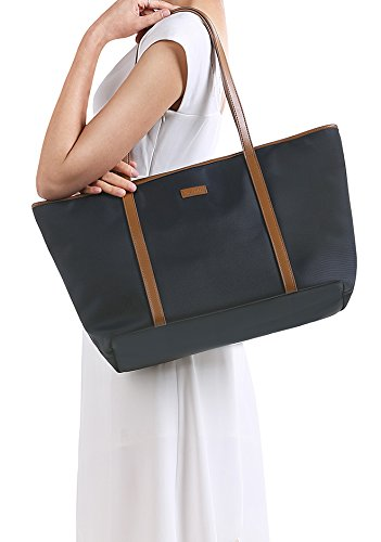 e7dce418ff7b CHICECO Extra Large Nylon Tote Bag Shoulder Bag for Women - Navy Blue  Brown