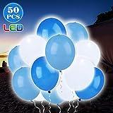 OOTOO 50 Stückeleutende Luftballons LED Ballons mit eigenem Schalter Dekoration für Hochzeit, Party, Geburtstag, Festival, Weihnachten usw. (Blau & Weiß)