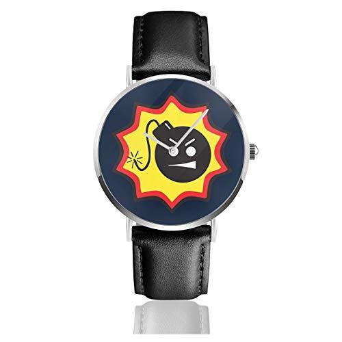 Unisex Business Casual Serious Sam Bomb Logo Armbanduhr Quarzuhr Leder schwarz Armband für Männer Frauen Young Collection Geschenk