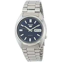 SNXS77K Seiko Men's Automatic Watch Analogue dial with Silver Steel Strap, Blue