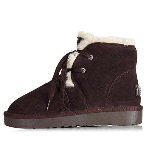 Schneestiefel Winter-Schnee-Aufladungs-weibliche flache kurze Aufladungs-Verdickungs-Baumwollkursteilnehmer-Frauen-Schuhe Stiefel ( Farbe : Schokoladen-Farben , größe : 35 ) (Jugend Schuhe Schokolade)