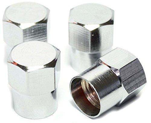 EDELSIGN - 4 er Set Premium Auto Ventilkappen (Messing + Chrom) HEXABIG Valve Caps (Chrom Ventilkappen)