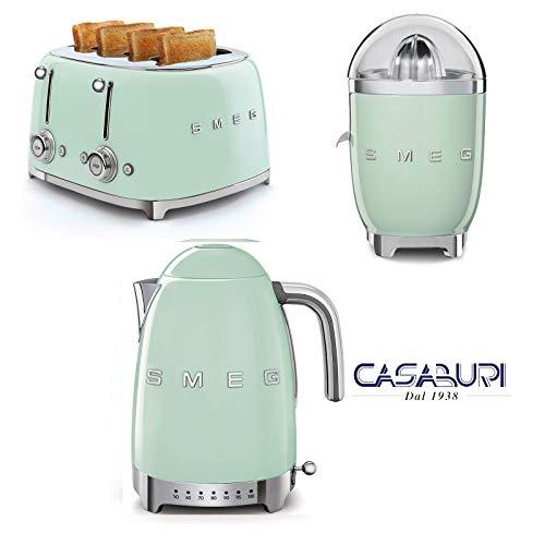 Smeg. Set 3 Stuck Grun : Kettle, Variable Temperature, Pastel Green + Toaster 4x4 + Elektrischer Entsafter