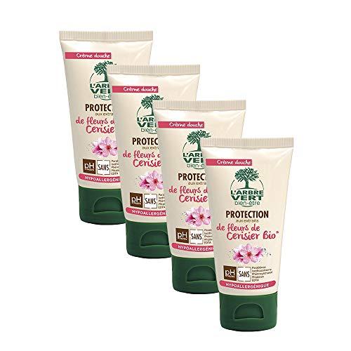 L'arbre vert Crème Douche Protection Fleurs de Cerisier Petit Format 75 ml - Lot de 4