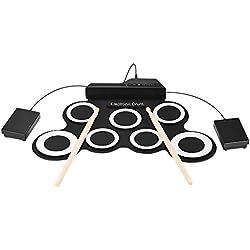ammoon Digital électronique Roll Up Drum Compact Format Portable Set Kit 7 Silicones Drum Pads USB Alimenté avec Drumsticks Pédales 3.5mm Audio Câble pour la pratique Débutants Enfants