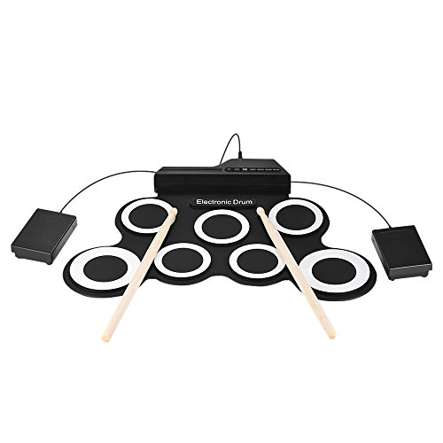 ammoon Digital electrónico Roll Up Drum Set Kit 7 Silicon Drum Pads Black-White