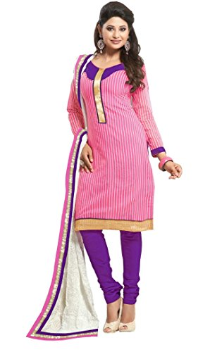 Kessi Cotton women's Cotton Embroidered Pink Salwars Suits