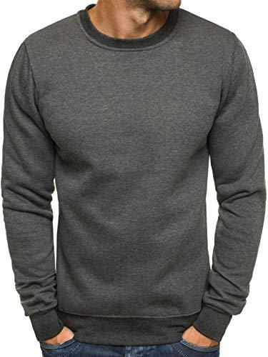 OZONEE Herren Sport Fitness Training Crewneck Täglichen Modern Sweatshirt Langarmshirt Pullover Warm Basic J. Style 2001-10 M ANTHRAZIT