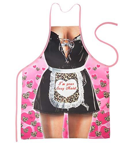 Kostüm Maid Hot - Mega Sexy Küchenschürze Kochschürze Grillschürze mit Gratis Urkunde - Zofe/Maid - heißer Scherzartikel Fasching Karneval Geschenk Geschenkidee