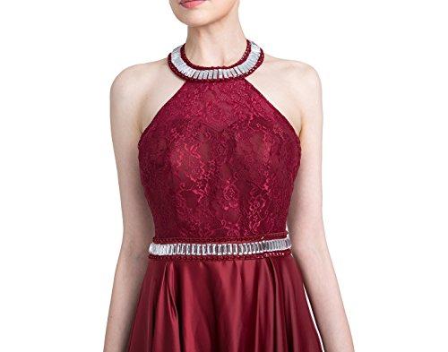 Dressystar Robe femme, Robe de gala/soirée longue dos nu, avec une ceinture aux perles strass, en satin Bordeaux