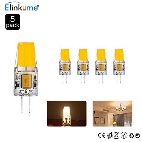 ELINKUME 5X 4W G4 COB LED Birnen,AC/DC 12V LED Lampen,Ra 83 hohe CRI,Warmweiß 3200K,360°Abstrahlwinkel LED Lampen...