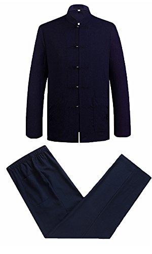 Zooboo Chinesische Kleidung Tang Anzug, Alten traditionellen Kostüm Martial Arts tangzhuang Kung Fu Lange Ärmel Jacke passt Hemd Uniform Reinigungstuch Hosen für Damen und Herren–Baumwolle und Leinen, Herren, Dark Blue Suit (Bekleidung Chinesische)
