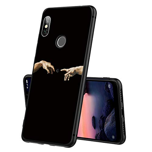 ZhuoFan Funda Xiaomi Redmi Note 6 Pro Cárcasa Silicona Ultrafina Negra con Dibujos Diseño Suave TPU Gel Antigolpes de Protector Piel Case Cover Fundas para Movil Xiao Mi Redmi Note 6Pro, Mano
