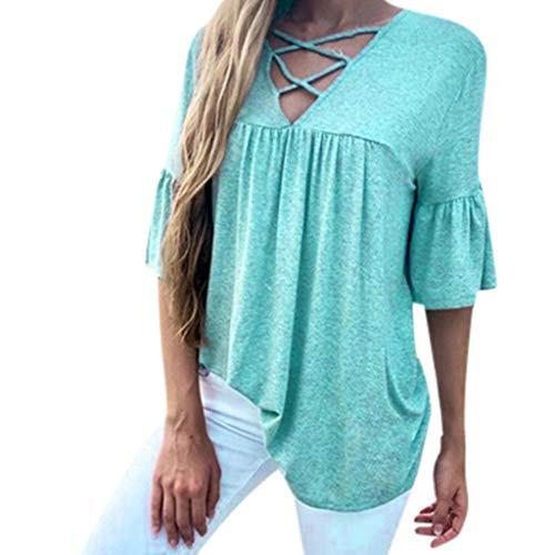Femme Printemps été Blouse,Rifuli® Sexy halbe Ärmel Cross V-Ausschnitt Volltonfarbe T-Shirt T-Shirts Shirts Blusen Bekleidung Damen Grande Taille Vest