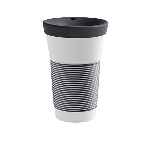 Kahla Coffee to Go Becher 0,47 l mit Deckel, Porzellan, Magie Grip anthrazit, 10 x 10 x 19 cm