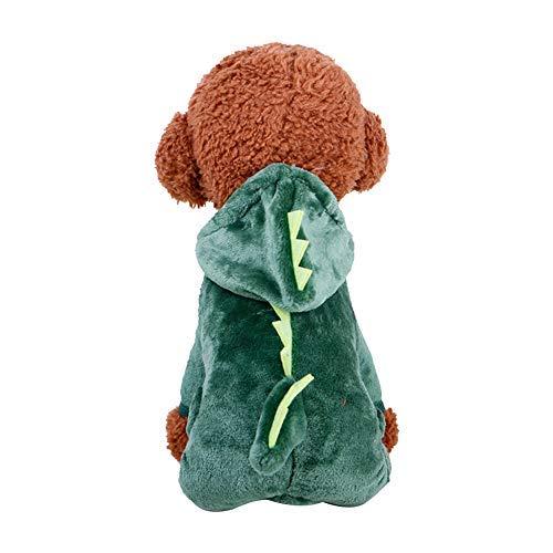 Jumpsuit Kapuzenpullover Runfon 1Set Pet Coat Kostüm Cute Hund Pyjama Kleidung Coral Fleece Pet Outfit Dog Supplies Herbst und Winter Welpe Hoodie Größe L (Dinosaurier) Weiches Muster (Cute Dog Kostüm Für Große Hunde)