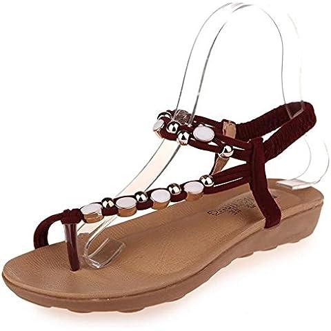 Minetom Mujer Estilo Retro Verano Sandalias Moda Diamante De Imitación Con Cuentas Sandalias