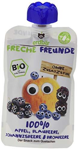 Freche Freunde Bio Quetschie 100% Apfel, Blaubeere, Johannisbeere & Brombeere 6-er Pack (6 x 100ml)