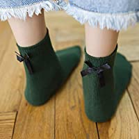 YUCH Calcetines Cortos De Algodón para Mujeres,Calcetines Cortos,Verde,Talla Única