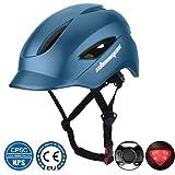 Shinmax Casque vélo avec Casque de vélo certifié CE avec feu arrière Feutre léger Ajustable pour Homme et Femme, Adulte, Femme et Montagne, Montagne/Route/Tour