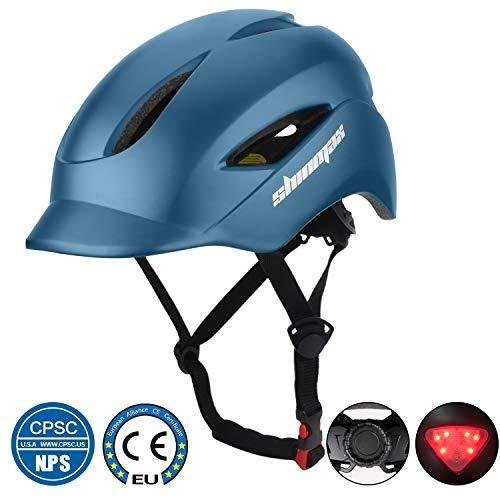 KINGLEAD Casque de vélo avec lumière LED, unisexe, casque de vélo pour course à pied, skateboard, sécurité en plein air, casque de vélo réglable avec certificat CE