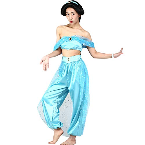 Fanstyle Prinzessin Jasmine Kleid Kleid Tanz Aladdins Lampe Organza Cosplay Kostüm 2St für ()