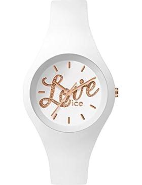 Ice-Watch LO.WE.GL.S.S.16 ICE love White Glitter Small Uhr Damenuhr Kautschuk Kunststoff 100m Analog weiß rosé
