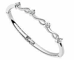 Silver Shoppee Waves of Wonder Rhodium Plated Alloy Bracelet