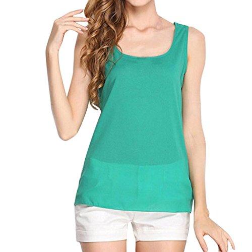 n Vest Top Casual Tank Summer Yoga Ärmellos Tops T-Shirt Weste Blusen Einfarbig O-Ausschnitt Schulterfrei Basic Camisole Strappy Breif Trägertop Plus Size (XL, Grün) ()