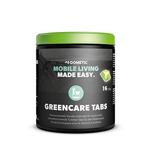 Dometic Green-Care Tabs fürs Camping-WC: Hochwirksamer Sanitär-Reiniger für ihre Chemie-Toilette. Zersetzt Fäkalien und verhindert unangenehme Gerüche. Die umwelt-schonende Alternative zu Sanitär-Flüssigkeit