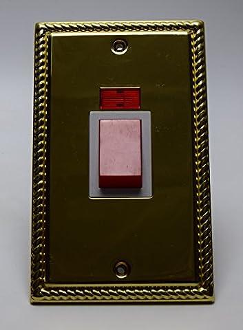 Cesco Illuimina 2Gang 45A (45A) en corde de chanvre cuisinière commutateur C/W Neon